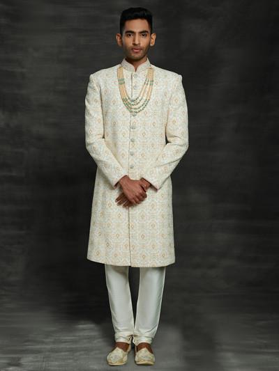 Elegent off white silk sherwani