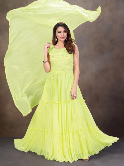 Eminent lime yellow georgette anarkali suit