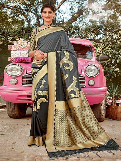 Eminent semi silk wedding wear saree in grey