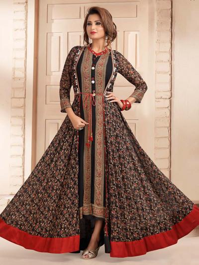 Excellent black georgette printed designer kurti