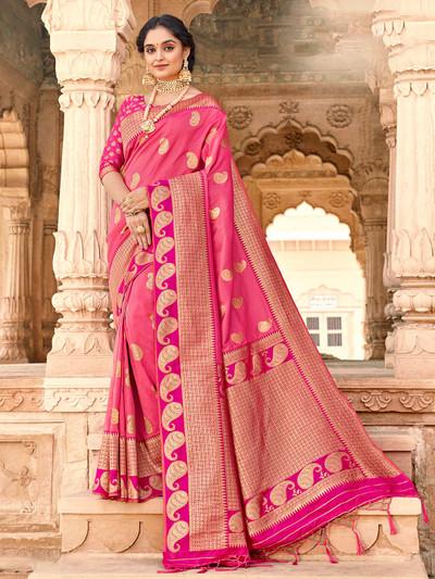 Excellent pink banarasi silk saree for wedding session