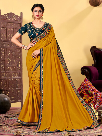 Exclusive mustard yellow designer saree