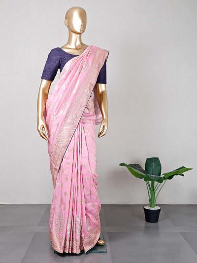 Exclusive Pink festive wear cotton silk saree