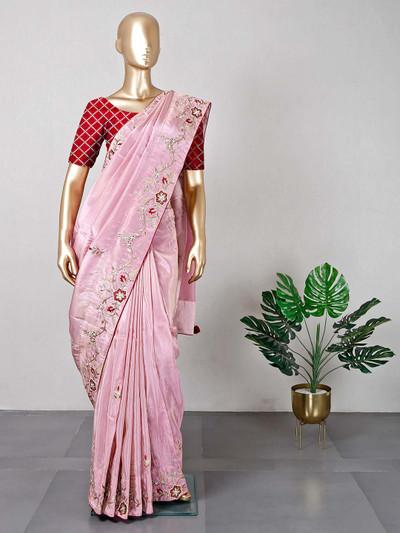 Exclusive pink satin wedding saree