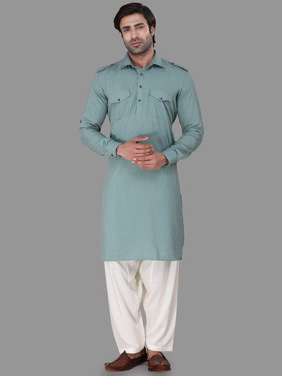 Exclusive solid green festive wear pathani suit