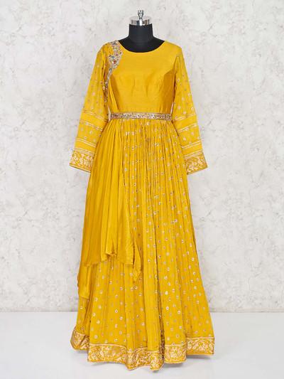 Exclusive yellow designer floor length anarkali suit