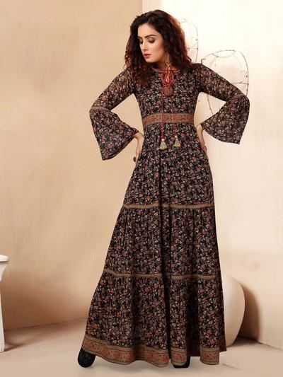 Fabulous black georgette printed designer kurti