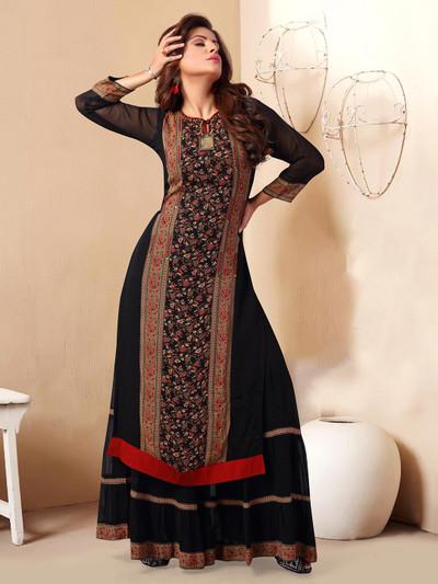 Fantastic black georgette printed designer kurti