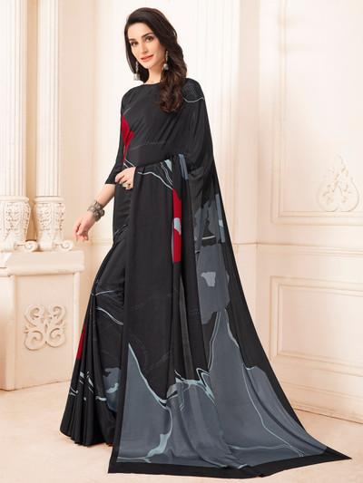Fantastic black printed crepe saree