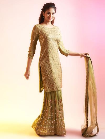 Fantastic pista green punjabi style festive wear salwar suit