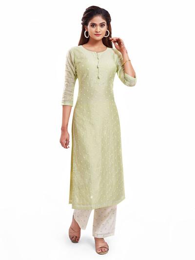 Fashionable pista green punjabi style salwar kameez for festive events