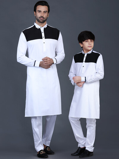 Father and son white solid cotton pathani suit