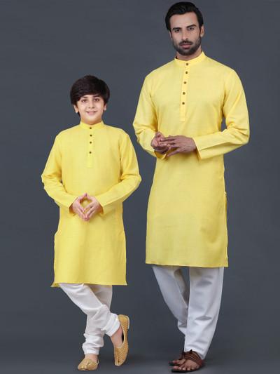 Festive cotton father and son kurta suit for festive wear