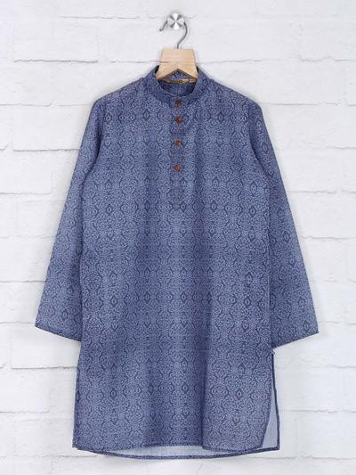 Festive function blue cotton kurta suit