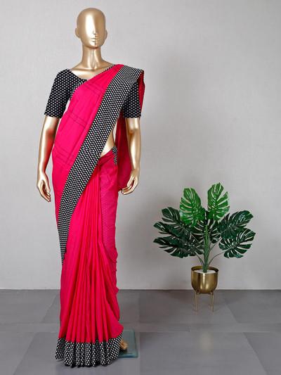 Festive function magenta cotton saree