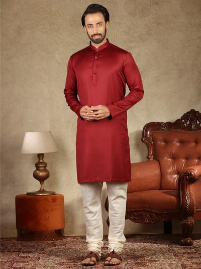 Festive function solid maroon cotton kurta suit