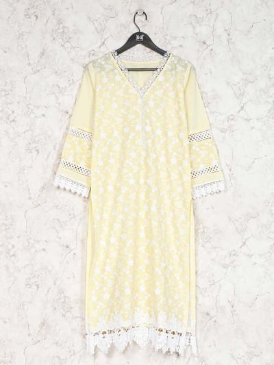Festive function yellow cotton kurti