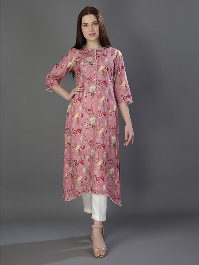 Festive get together pink printed linen kurti