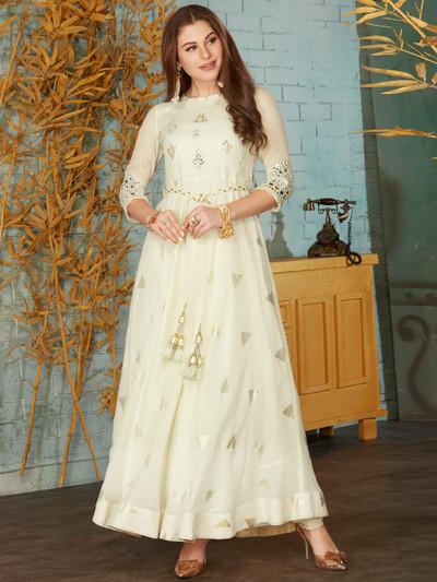 Festive occasion cream cotton floor length anarkali suit