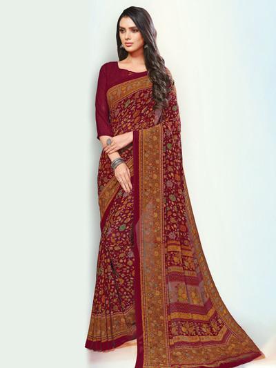 Festive occasions maroon georgette saree