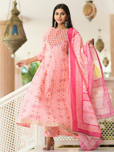 Festive wear baby pink printed cotton punjabi style pant suit
