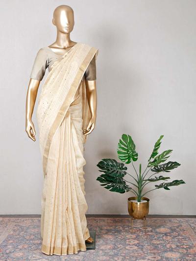 Festive wear beige cotton beautiful saree