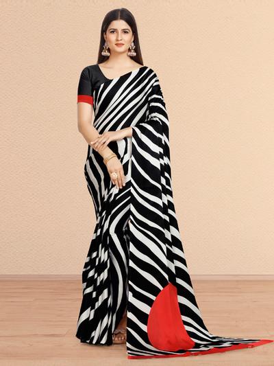 Festive wear black and white color crepe saree