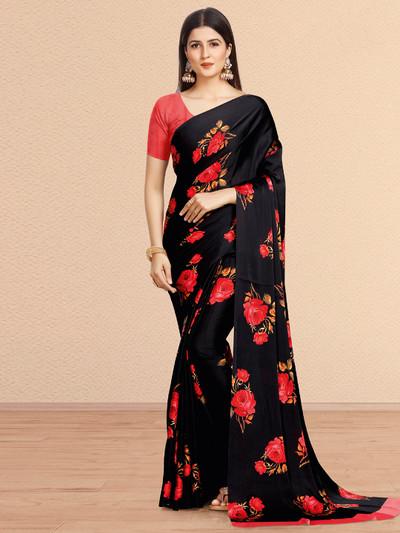 Festive wear Black crepe saree
