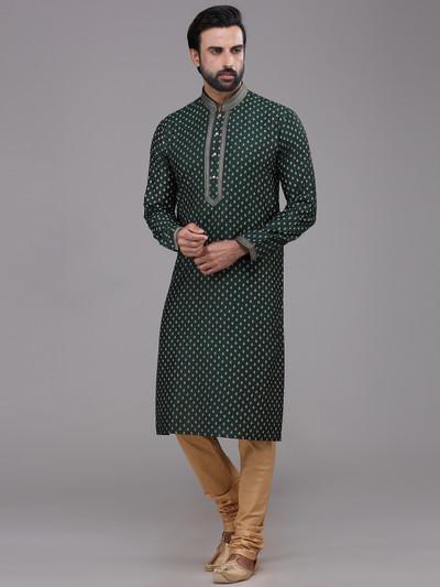 Festive wear bottle green silk printed kurta suit