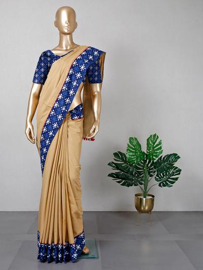 Festive wear cotton beige saree for women