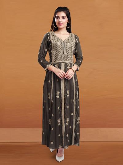 Festive wear dark brown cotton kurti