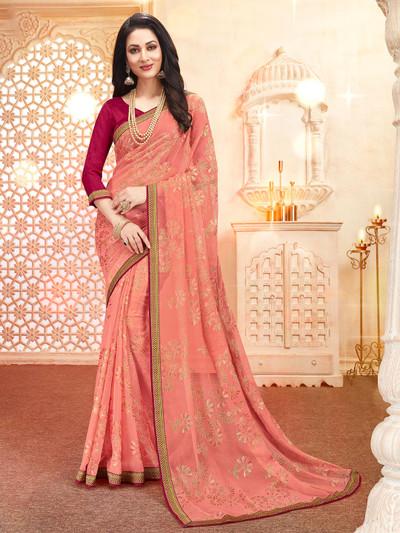 Festive wear georgette saree in peach
