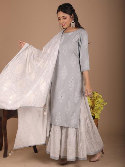 Festive wear grey printed cotton sharara suit