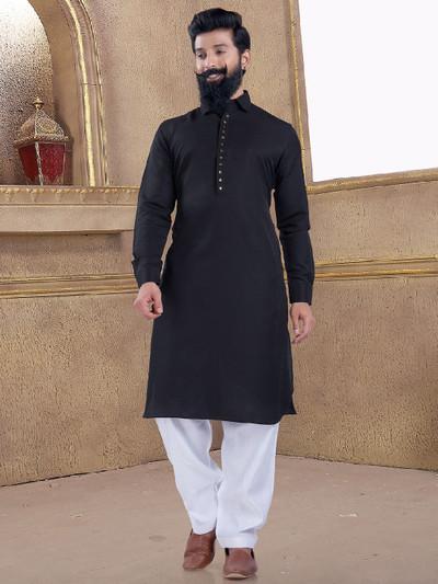 Festive wear jet black pathani suit