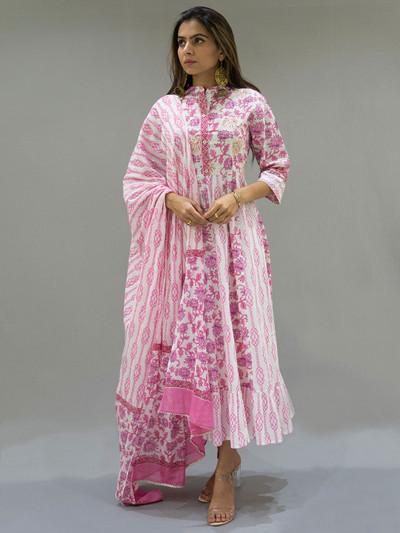 Festive wear kurti in pink hue with dupatta
