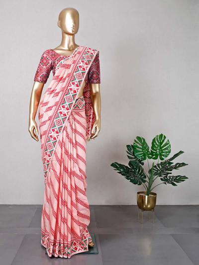 Festive wear light pink women saree