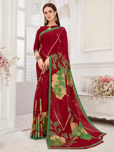 Festive wear maroon crepe saree