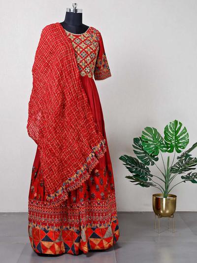 Festive wear maroon raw silk anarkali suit