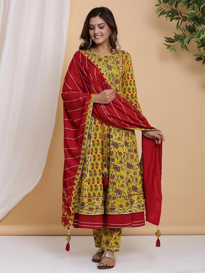 Festive wear mustard cotton punjabi style pant suit