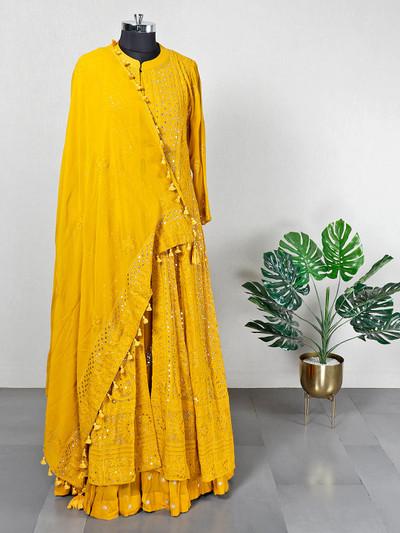 Festive wear mustard yellow georgette lehenga style suit