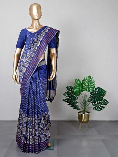 Festive wear navy cotton saree for women