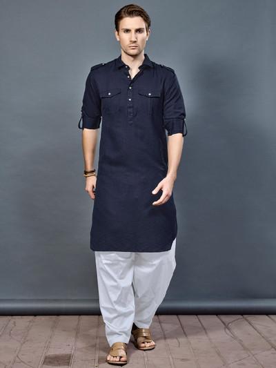 Festive wear navy hue pathani suit