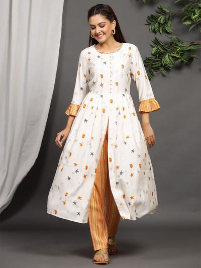 Festive wear off white printed cotton punjabi style pant suit