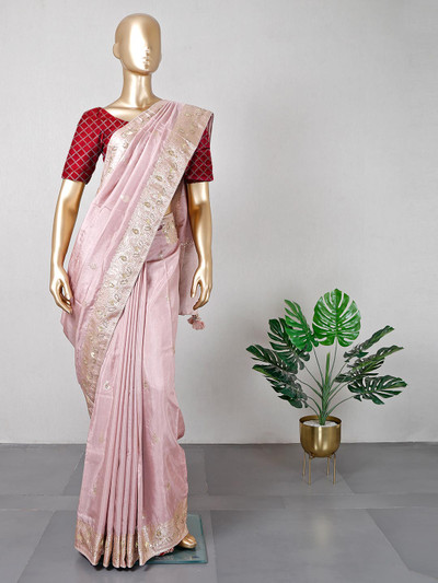 Festive wear onion pink silk saree