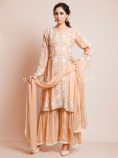 Festive wear peach cotton sharara suit