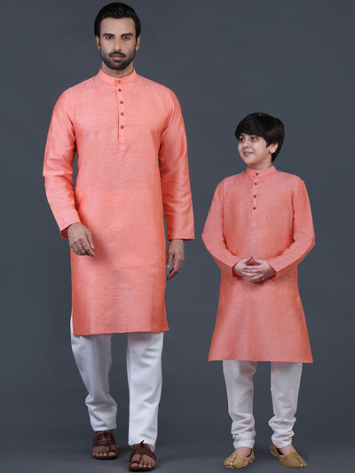 Festive wear peach father-son kurta suit