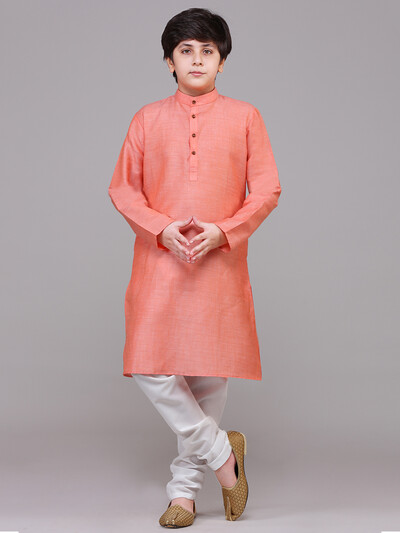 Festive wear peach stand collar kurta suit for boys