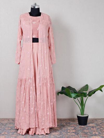 Festive wear pink georgette indo western suit