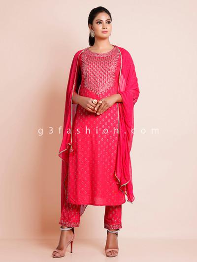 Festive wear pink georgette punjabi style pant suit