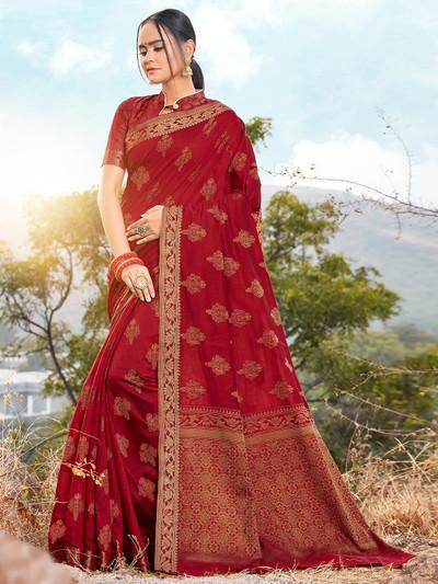 Festive wear red soft cotton saree